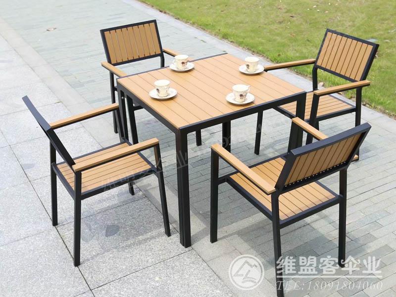 柚木色塑木桌椅2